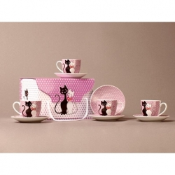 Coffret 6 tasses à café couple de chat