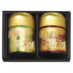 Boîte à thé jardin japonais verte et rouge100g.