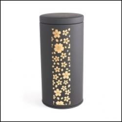 Boîte à thé japonaise noire fleurs de cerisier