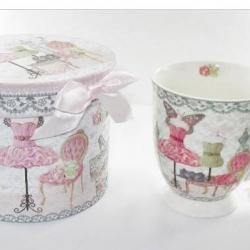 Mug Mode rose et sa boîte  cadeau