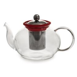 Théière en verre Boro rouge 1 litre avec filtre amovible