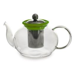 Théière en verre Boro verte 1 litre avec filtre amovible