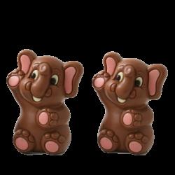 Des petits éléphants roses chocolat de Pâques
