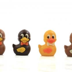 Les petits canards nageurs moulage de Pâques noir, lait et blanclait