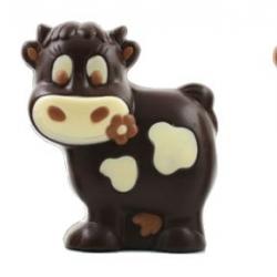 Lucy la petite vache rigolote moulage de Pâques noir et lait